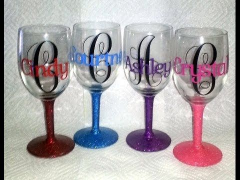 Personalized Wine Glasses with Vinyl. Free fonts for Monogram from Dafont.com (monogram_kk) and for name from www.1001fonts.com (gabriela). Glittered glass stem base coat: Mod Podge Matte, extr or ultra fine glitter, then top coat of Americana Triple Thick Brilliant Brush on Gloss Glaze. http://crystalscreativespot.blogspot.com from 11-8-13
