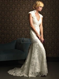 Allure wedding dress 8764 from the Bridals collection. The lace gown with capped sleeves, high collar, and open back is removable to reveal a charmeuse slip-gown for two dresses in one.  The fabric, neckline and sleeves are exactly what I've always dreamed of!!! opportunity