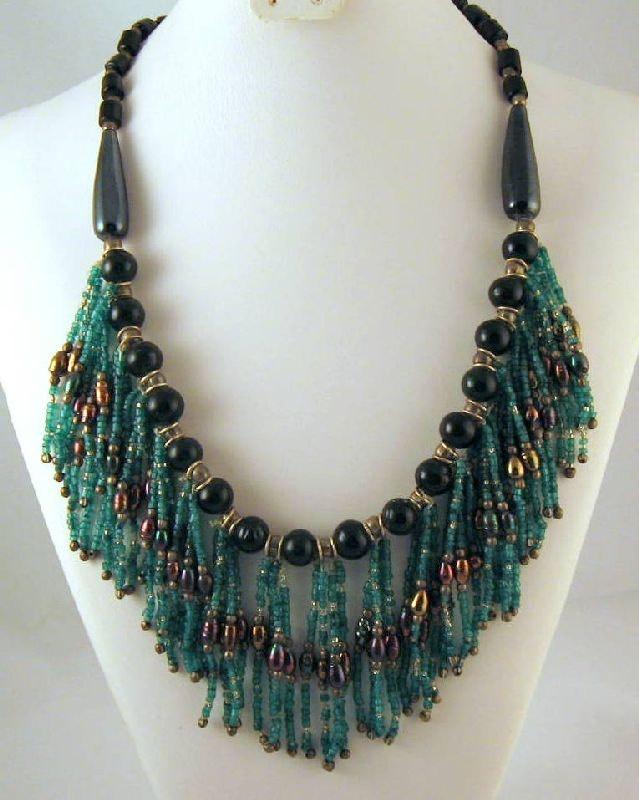 Gypsy Blue-Green Seed Bead Boho Fringe Necklace on Etsy