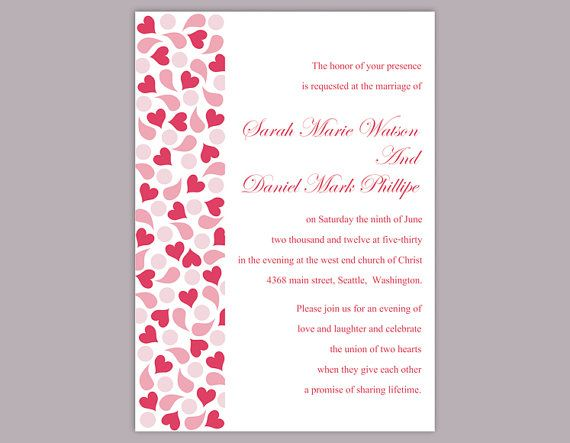 DIY Wedding Invitation Template Editable Download Red Wedding Invitation Heart Invitation Printable Pink Invitation by TheDesignsEnchanted