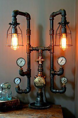 Steampunk Lamp Light Industrial Art Machine Age Salvage Steam Gauge | eBay
