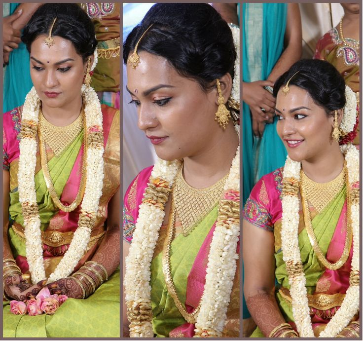 #southindianbride #southindian #jewellery #bride #greenandpink #greensaree #saree #bride #engagment #Indiansaree #Greensaree #Pinksaree #Traditional #Bride #Wedding #Engagement #Garland #Jewellery #Gold #bindhi #Weddingideas
