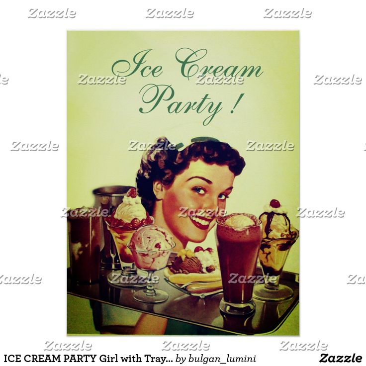 ICE CREAM PARTY Girl with Tray of Ice Creams Poster #food #icecream #sweet #chef #catering #caterer #vintage #prints
