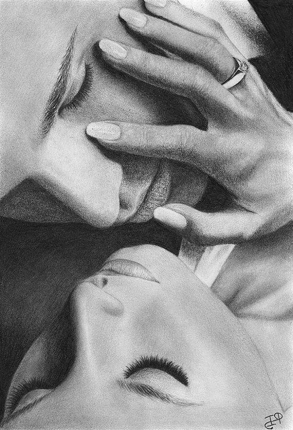 Love Couple Romance Original Pencil Drawing by WickedIllusionART