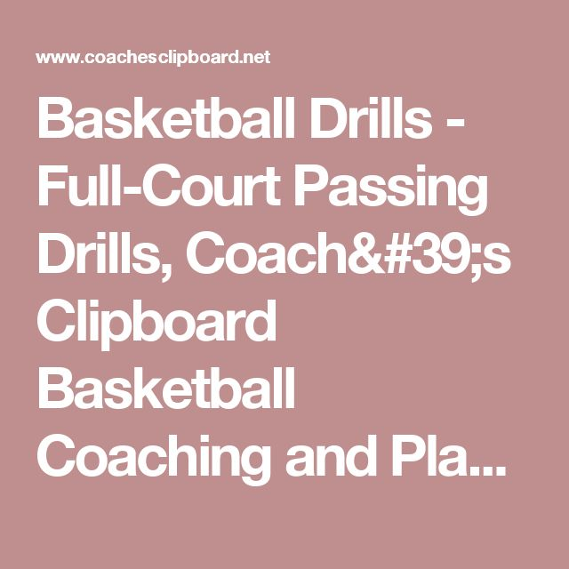 Basketball Drills - Full-Court Passing Drills, Coach's Clipboard Basketball Coaching and Playbook