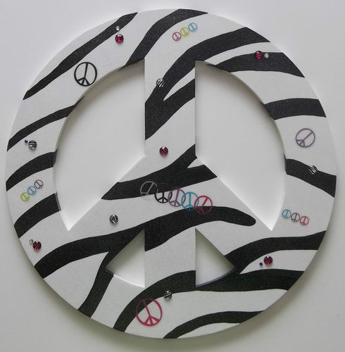 Zebra Stripe Print Peace Sign Glitter Bling Rhinestone Girls Bedroom Wall Décor