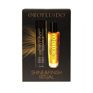 Orofluido Shine & Finish Ritual Value Pack - $24.95. A beauty elixir for all hair types, with a pure luxuriance that envelops your hair.   Three organic natural oils in an exquisite mixture with a pleasant, silky texture, rapidly absorbed and leaves no residue in the hair. Its delicious amber fragrance with a vanilla foundation will transport you into a fascinating world of oriental perfume.