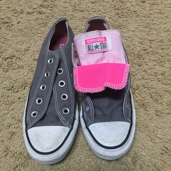 Gray Converse Can be worn all gray or with a hot pink tongue showing. Great condition. Women's 6. Converse Shoes