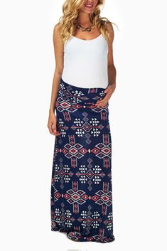 Navy Blue Tribal Printed Maternity Maxi Skirt