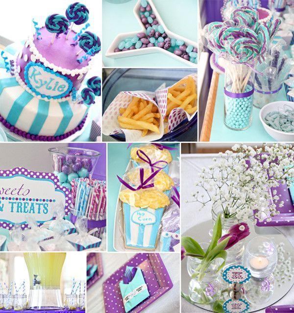 purple and aqua carnival baby shower ideas