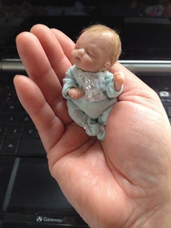 """OOAK Arcilla Polimérica Miniatura Baby, Arte Muñeca, 3"""""""