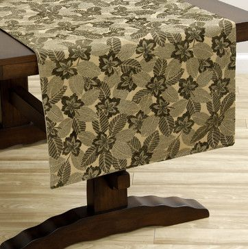 Superb Green Leaf Extra Wide Italian Woven Table Runner. Contemporary TableclothsGreen  LeavesTable ...