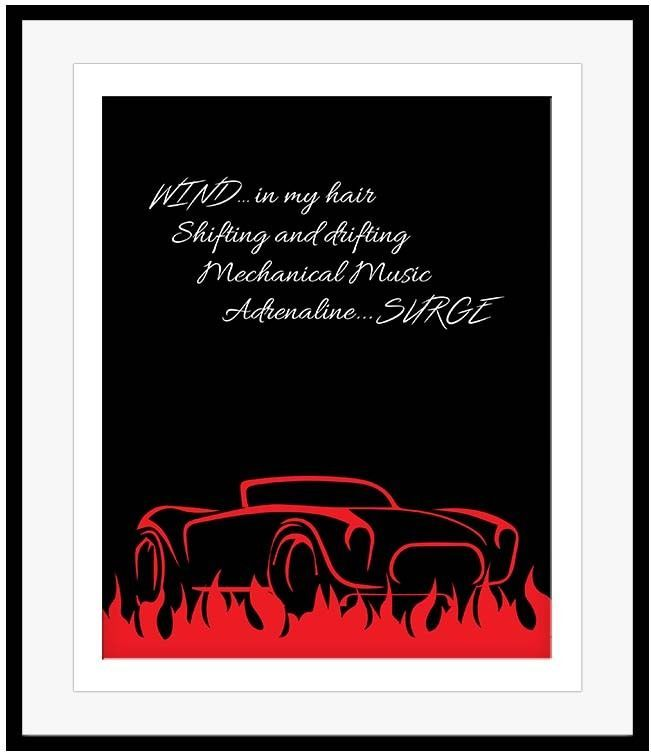 Rush Band Music Poster RED BARCHETTA Song Lyric Print Artwork Classic Rock