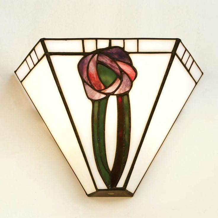Applique Tiffany / Lampada da Parete Tiffany con Fiori Viola