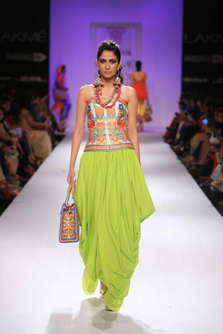 Rizwan Beyg showcased a pop of colours at Lakme Fashion Week Winter/Festive 2014! #JabongLFW #lakmefashionweek
