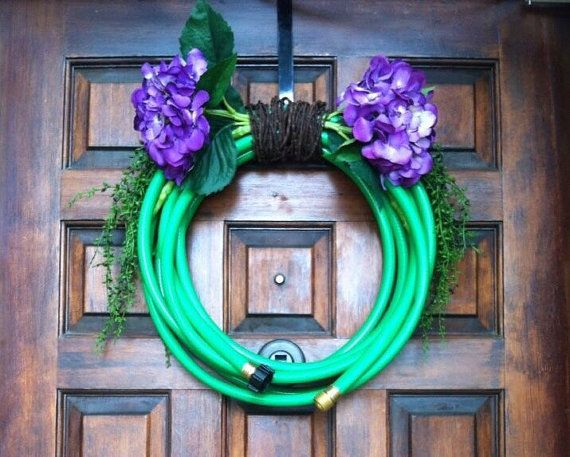 Garden hose wreath  floral wreath with by TexasRusticWoodDecor