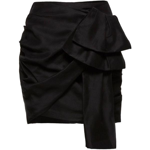 Magda Butrym Sofia Black Skirt (¥111,740) ❤ liked on Polyvore featuring skirts, black, bow skirts, draped skirt, asymmetric hem skirt, flouncy skirt and frilly skirt
