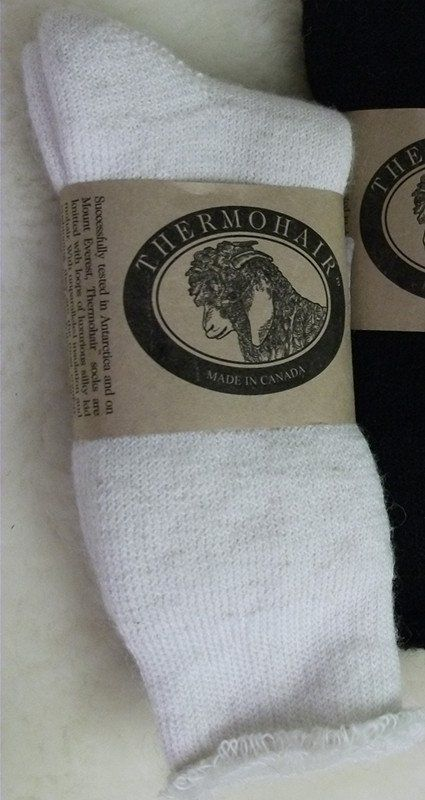 Luxurious mohair socks for her and him made by the original 'Goat Lady of South Mountain'. Pre-washed and pre-shrunk