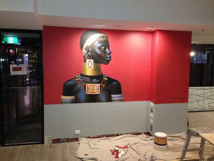 Ndebele Woman being installed in a restaurant in Australia.