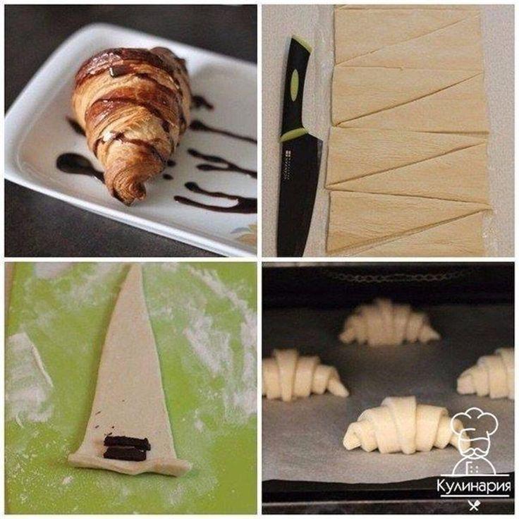 Круассаны  Круассаны на завтрак – это классика. Что может быть вкуснее свежего горячего воздушного круассана? Предлагаю вам рецепт классических круассанов.  Ингредиенты:  Тесто слоёное дрожжевое — 1 упаковка Мука пшеничная — 0,5 стакана Пудра сахарная — 2-3 ст л. Начинка — по вкусу  Приготовление:  1. Для начала припудрите стол мукой, чтобы тесто не прилипало. Затем, разложите лист слоеного теста и разрежьте его на длинные треугольники. 2. Получившиеся треугольнички сверните рулетиками…
