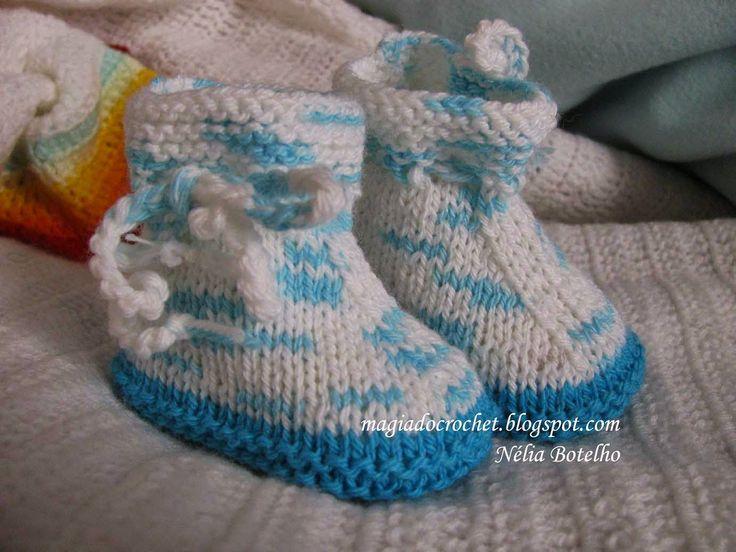 Magia do Crochet: Botinha fácil em tricot com receita