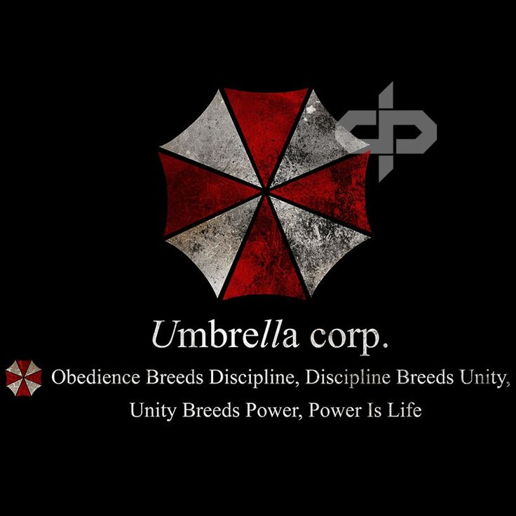 "Umbrella Corporation - Resident Evil - ""Obedience"" T Shirt - This is our second version of the Umbrella Corporation logo - but this Umbrella Corp T Shirt has the gritty distressed Umbrella Logo eblazoned across the chest. Featuring the fearsome Umbrella Corporation mantra ""Obedience Breeds Discipline, Discipline Breeds Unity, Unity Breeds Power, Power Is Life"" The Umbrella Corporation (officially named Umbrella Pharmaceutical Incorporated) is a mega corporation which operates ..."