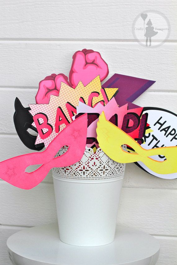 printable Pink Superhero Party Photo booth Props Package by craftybouquets, $12.00