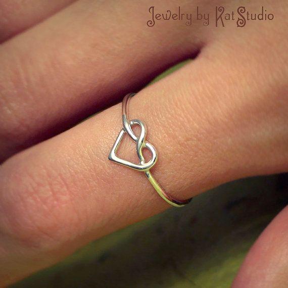 Hartjesring knoop Ring liefde knoop ring Infinity door Katstudio