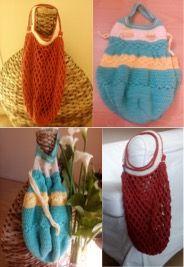 Duo de sacs au crochet. Modèles Chouette Kit: https://www.chouettekit.fr/actu/les-kits-dete-ck21/.