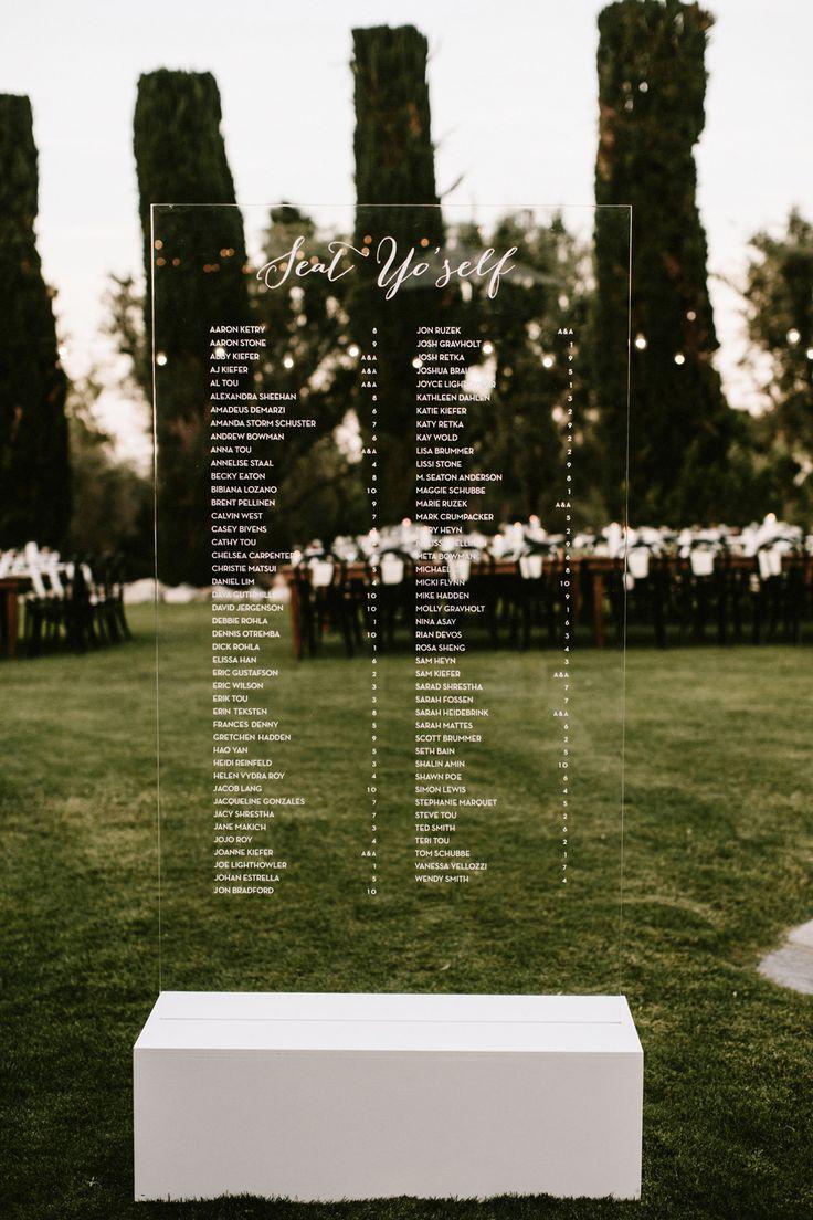 Seating Chart, Acrylic Wedding, Palm Springs, escort board, escort wall