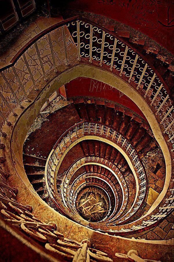 Stairs in the abandoned Hotel Jadran in Tučepi, Croatia