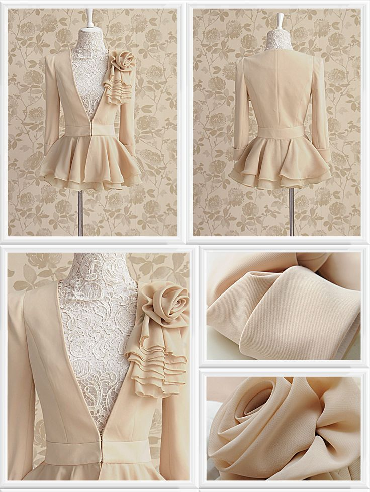Morpheus Boutique  - Tan Ruffle Rose Layer Celebrity Long Sleeve Jacket