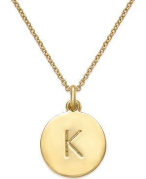 Add a personal touch to any outfit with kate spade new york's initial pendant necklace. Lobster clasp. Crafted in 12k gold-plated mixed metal. Approximate length: 17 inches + 3-inch extender. Approxim