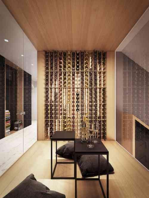 aménagement de cave à vin : étagères à bouteilles