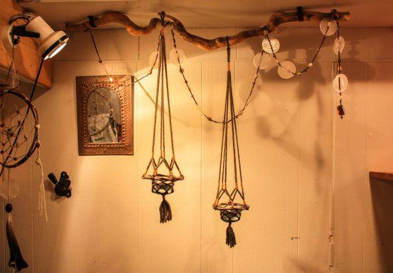 Hanging Tealightholder - Wood and Wool Lantern - Homemade Candle Holder