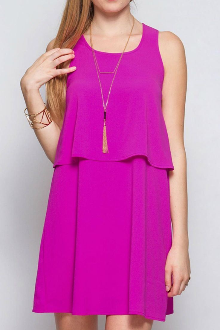 The perfect easy through on dress with soft material and perfect length. Throw on with a pair of wedges for an instant outfit. 100% Poylester.   Pink Dress by She & Sky. Clothing - Dresses - Casual Wisconsin