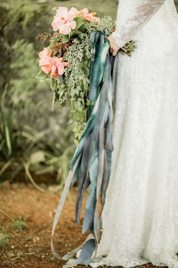 What do you think of ribbons in your bouquet? Also, are we doing the flowers for your wedding DIY style?