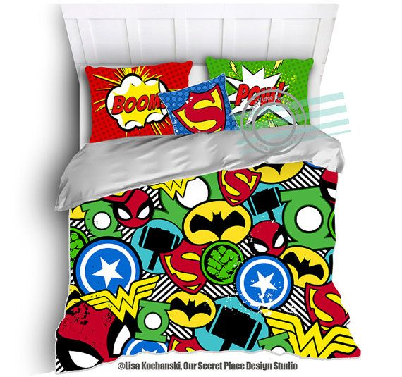 Superhero Bedding for Boys Bedding Twin Superhero Duvet Boys Superhero  Bedroom Superhero Room Decor Comic Book Bedding Kids Bedding Boys by  OurSecretPlace. 17 Best ideas about Superhero Room Decor on Pinterest   Superhero