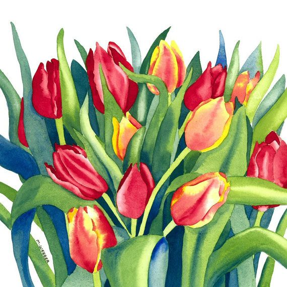 Tulips Botanical Flowers Limited Edition Giclee by michelewebber, £20.00