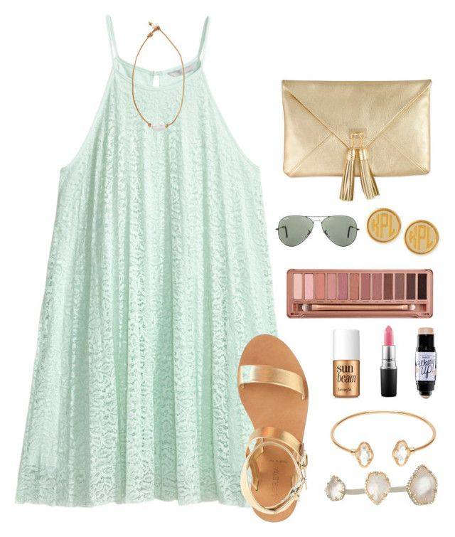 """if I started a taglist, who would join?"" by morganmestan ❤ liked on Polyvore featuring H&M, Kendra Scott, Adele Marie, Benefit, Urban Decay, MAC Cosmetics, J.Crew, Moon and Lola, Ray-Ban and Lead"