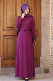 Fiyonklu Fuşya Elbise - An Nahar