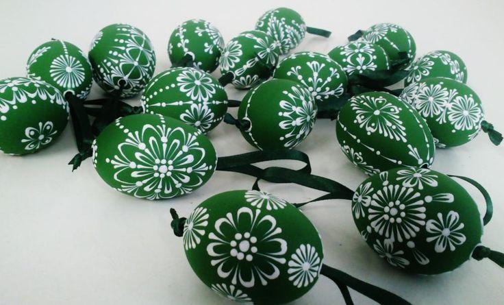 KRASLICE /slepačie maľované vajíčka/ - zelená tmavá by ...