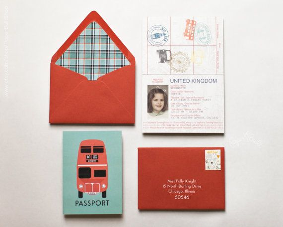 London Party Passport Invitation, London Baby Shower, London Birthday, British Party, English Tea Party, London Wedding Passport, England UK