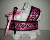 Hot pink and black zebra print girl diaper bassinet baby shower gift table decoration centerpiece