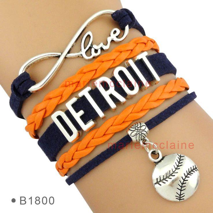 (10 Pieces/Lot) Infinity Love MLB Detroit Baseball Team Bracelet Best Gift for Sports Fans Baseball Fans Custom Drop Shipping