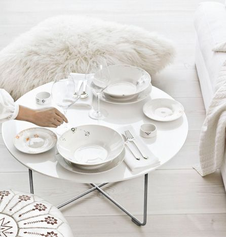 Table setting with White and Multicoloured Elements