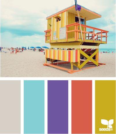 ✮ Beach Brights: Design Seeds, Beaches Bright, Colors Palettes, Colors Schemes, Beaches Houses, Bathroom Decor, Colour Palettes, Bright Colors, Bright Color Palettes