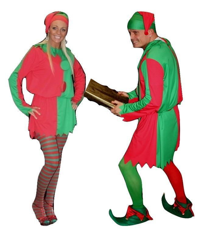 Santas Little Helper Christmas Deluxe his or hers Elf Costume - Dragons Den Fancy Dress Limited