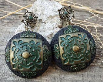 Novia joyas africanas pendientes rústico único pendientes Boho