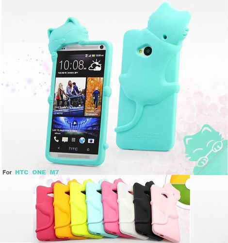 Cute 3D Cat Soft Silicone Case Cover for HTC One M7 M 7 Free Screen Protector | eBay. I like either BLACK or BLUE